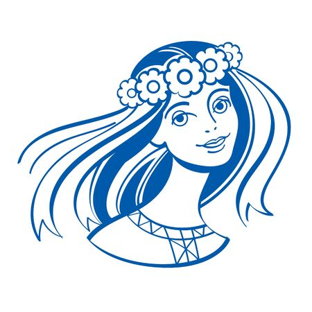 Slavic girl in a wreath of flowers with ribbons Иллюстрация