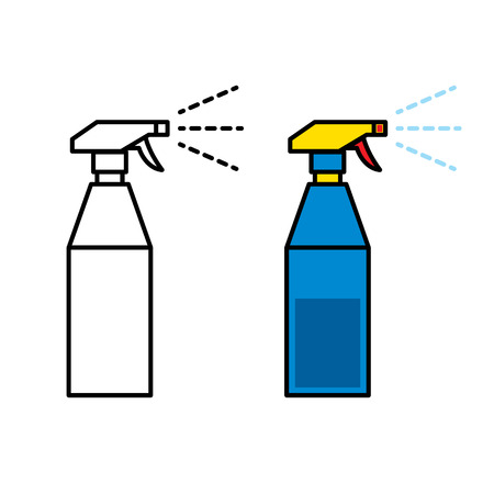Icon of plastic spray bottle spraying water Vettoriali