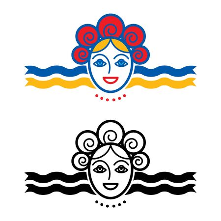 Woman with wreath and ribbons - icon, symbol Иллюстрация