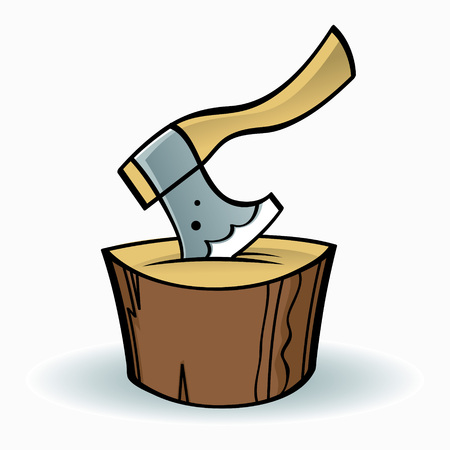 executor: Axe on a wooden chopping block Illustration