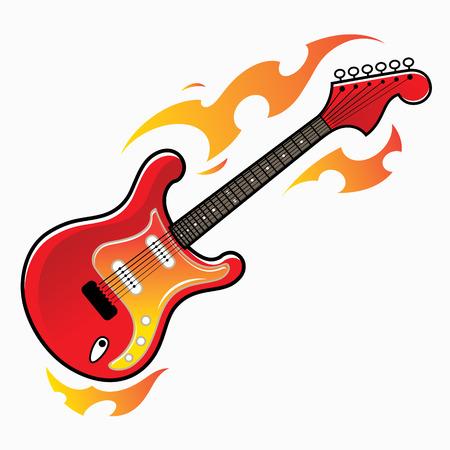Burning red electric guitar - musical instrument Иллюстрация