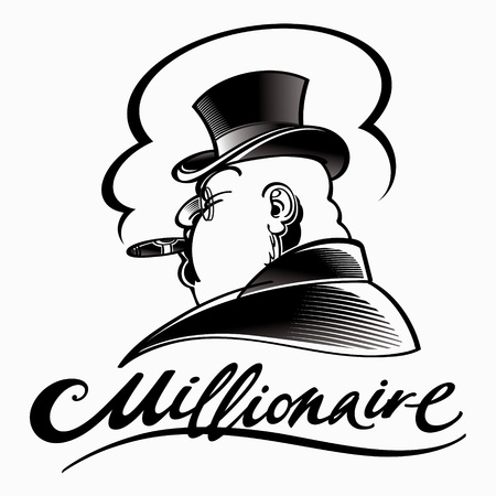cigar smoking man: Millionaire - rich man in top hat smoking cigar Illustration