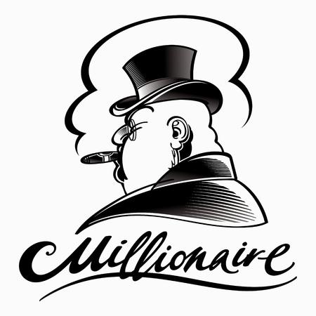 Millionaire - uomo ricco in cappello a cilindro fumo di sigaro Vettoriali