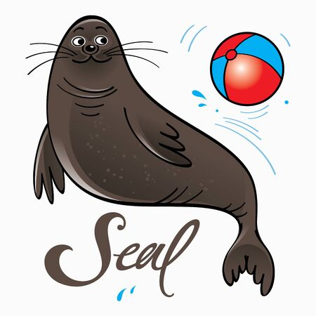 Trained seal playing with ball on stage Иллюстрация