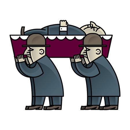 Corteo funebre - uomo presente nella bara e bara Vettoriali
