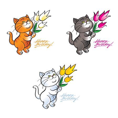 domestic cat: Happy birthday - cat standing with a flowers in paws Illustration
