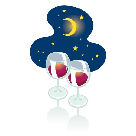 affair: Romantic night - two wineglasses and moon in the starry sky