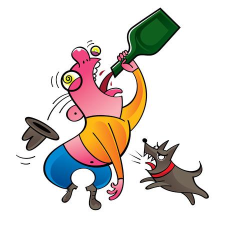 animal abuse: Alcoholic - drinking man and barking dog Illustration