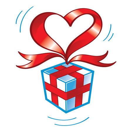 Gift box wrapped by red heartshaped ribbon Иллюстрация