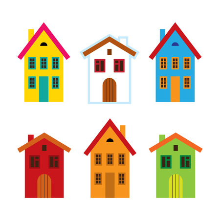 yellow roof: House set - colorful home icon collection