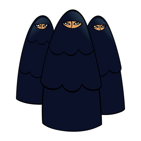 is closed: Group of muslim women in traditional black dresses Illustration