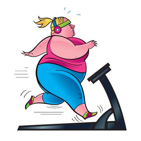 Mujer que ejercita en la cinta, corredor con sobrepeso en el gimnasio