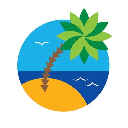 sea sky: Palm tree - view with beach, sea, sky and palm tree