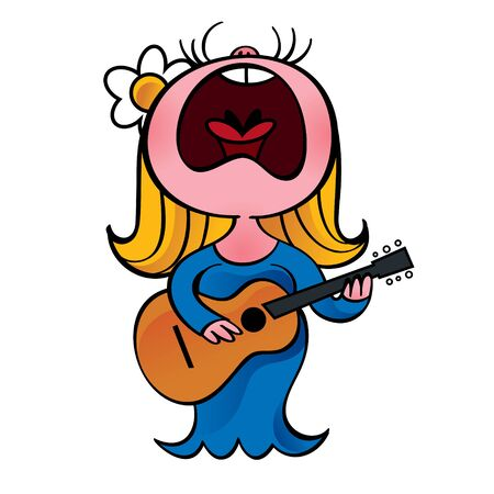 Woman in blue dress sings and play guitar Illustration