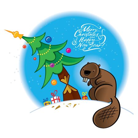 Beaver gnawing Christmas tree - vector illustration cutting gnawing