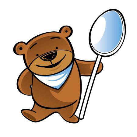 Standing funny teddy bear with big spoon Иллюстрация