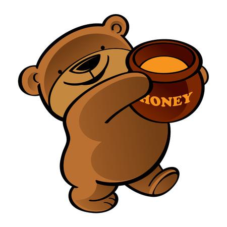 Walking funny teddy bear with honey pot
