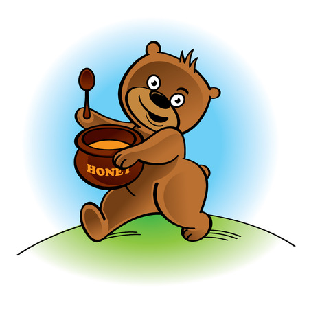 Walking bear with spoon and honey pot