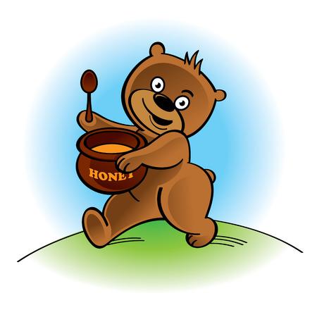 honey pot: Walking bear with spoon and honey pot