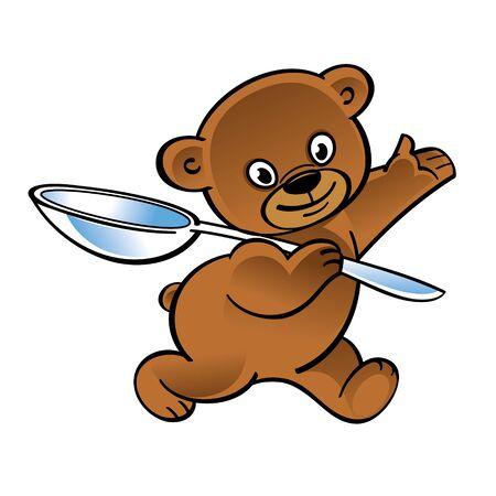 Walking funny teddy bear with big spoon Иллюстрация