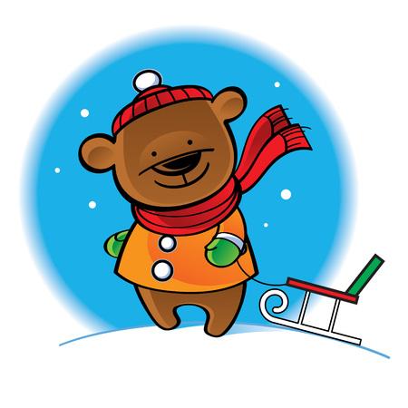 Bear in warm coat with sleigh - winter scene Иллюстрация