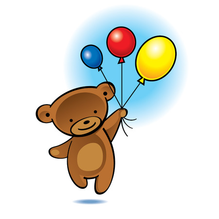 Little teddy bear flying with color balloons