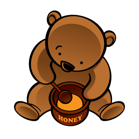 mead: Sitting bear with spoon and honey pot Illustration