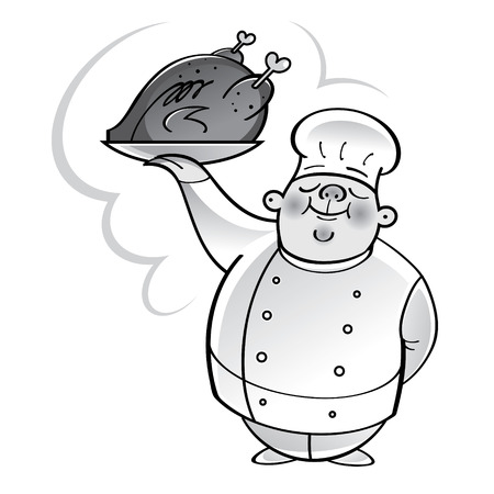 Chef cook with grilled chicken on plate Illustration