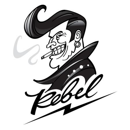 Rebelde con un peinado fresco, en chaqueta de cuero