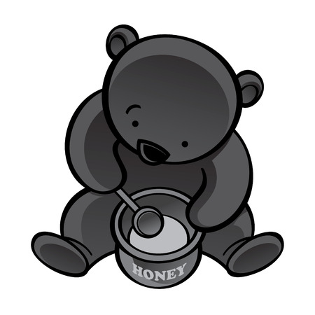 Sitting bear with spoon and honey pot Иллюстрация