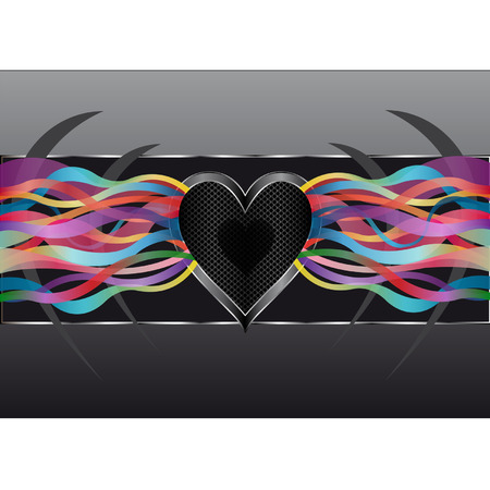 emitting: Heart-shaped speaker emitting colourful waves of music