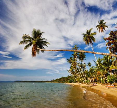 Tropical beach on Koh Mak island. Kingdom Thailand.