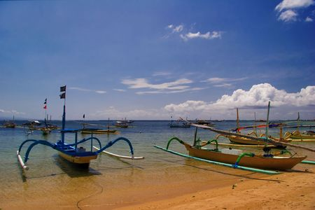 National boats of peoples of Indonesia. Legian Beach, Bali. photo