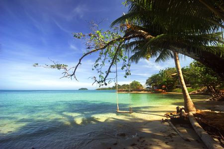 On the tropical beach. Siam bay. Province Trat. Koh Chang island. Kingdom Thailand Stock Photo