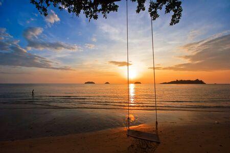 Sunset on tropical beach. Siam bay. Province Trat. Koh Chang island. Kingdom Thailand Stock Photo - 4652835