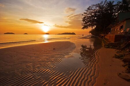 Sunset on tropical beach. Siam bay. Province Trat. Koh Chang island. Kingdom Thailand Stock Photo - 4652706