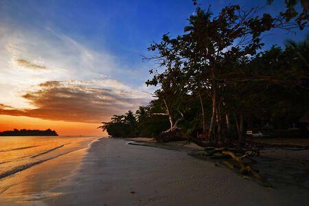 Sunset on tropical beach. Siam bay. Province Trat. Koh Chang island. Kingdom Thailand Stock Photo - 4652813