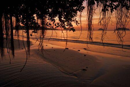 Sunset on tropical beach. Siam bay. Province Trat. Koh Chang island. Kingdom Thailand Stock Photo - 4652786
