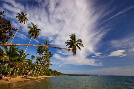 Sunny day on the tropical beach. Siam bay. Province Trat. Koh Mak island. Kingdom Thailand photo