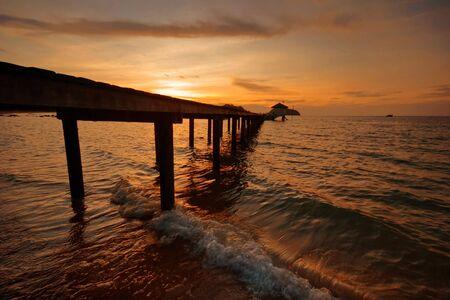 Sunset on tropical beach. Siam bay. Province Trat. Koh Mak island. Kingdom Thailand photo