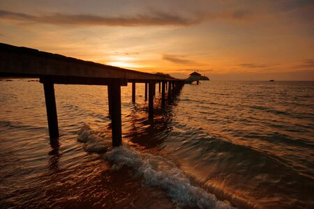 Sunset on tropical beach. Siam bay. Province Trat. Koh Mak island. Kingdom Thailand photo