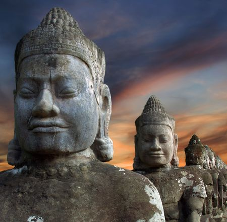 Sculptures of demons of Asia. Photographed in the temple complex of Angkor Wat, Cambodia Stock Photo - 4652865