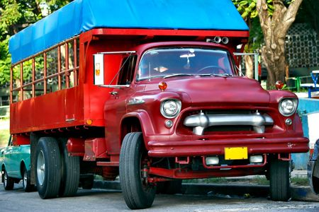 Old lorry. Photographed on the street of Santiago De Cuba photo