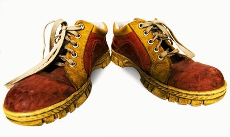 Old red dirty boots on a white background Stock Photo - 4652883