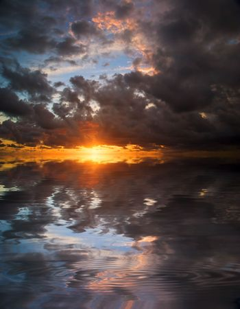 Reflection of the sunset sky in water photo