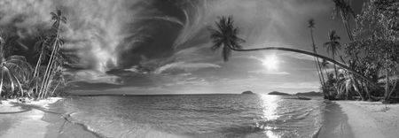 Stitched Panorama of the tropical beach. Siam bay. Province Trat. Koh Mak  Stock Photo