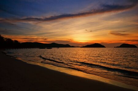 Sunset on the  tropical beach. Siam bay. Province Trat. Koh Mak island. Kingdom Thailand photo