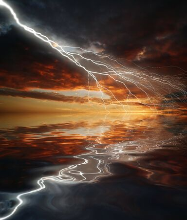 Lightning on sunset sky background photo