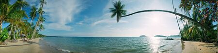 Sunny day on the tropical beach. Siam bay. Province Trat. Koh Mak island. Kingdom Thailand. Panorama photo