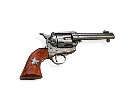 vintage old west gun isolated on white Stock Photo